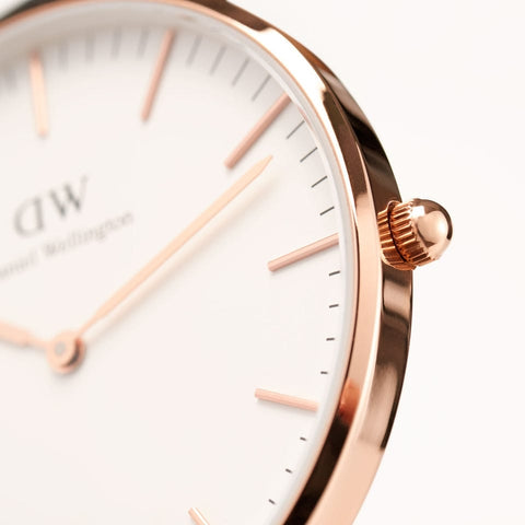 Classic Cornwall with White Dial and Rose Gold Case