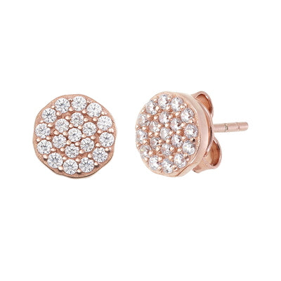 Round Shape Cz Pave Earrings Rose Gold