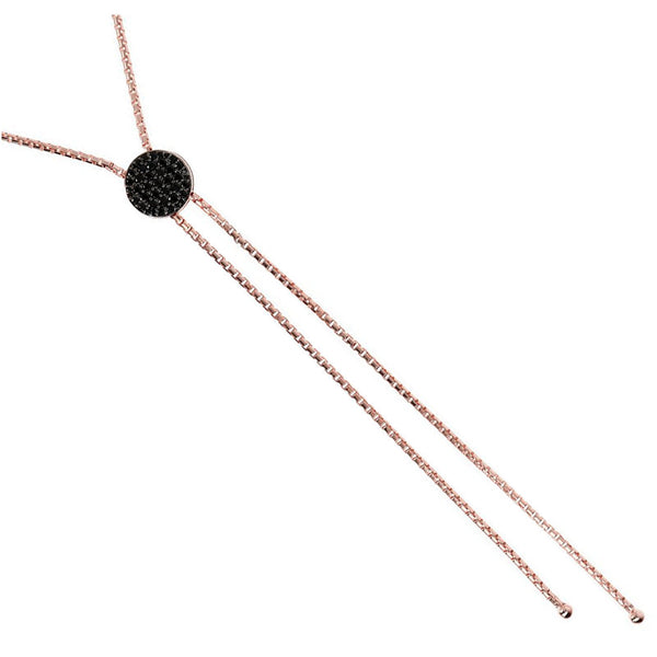 Bronzallure Rose Gold Black Spinal Necklace