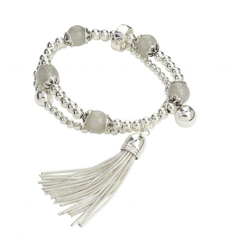 Silver layered bead and tassle bracelet
