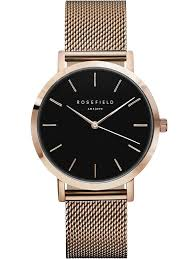 Rosefield Mercer Black and Rose Gold Watch