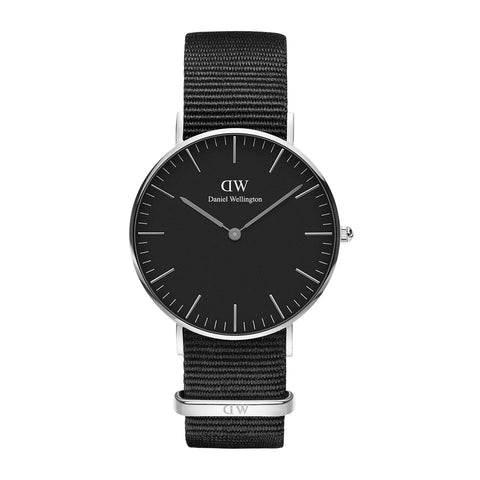 Classic Cornwall with Black Dial and Silver Case daniel wellington watches