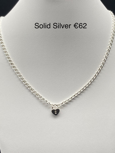 Solid Silver Chain With Heart Padlock