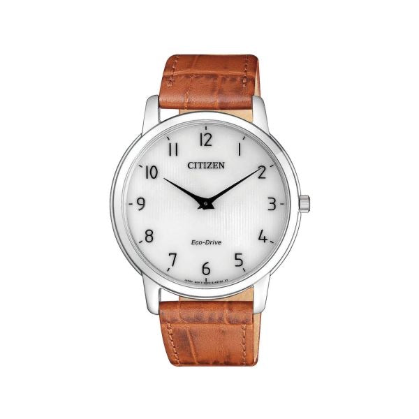 Gents Citizen Eco Drive Stainless Steel Stiletto Brown Strap Watch