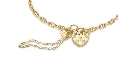 9ct Yellow Gold 3mm Rambo Chain Padlock and Safety Chain Bracelet