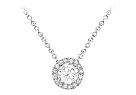 9ct White Gold cz 7.6mm Necklace