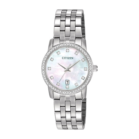 CITIZEN MOTHER OF PEARL CRYSTAL DIAL STAINLESS STEEL LADIES BRACELET WATCH