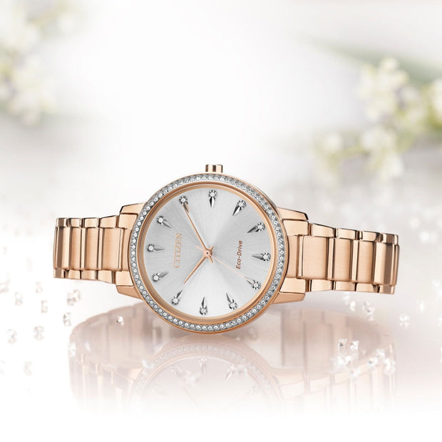 CITIZEN ECO SILHOUETTE CRYSTAL SILVER & ROSE GOLD TONE LADIES' WATCH