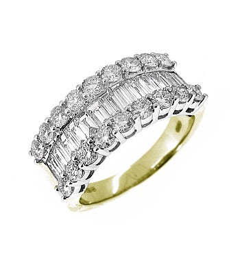 18k Yellow & White Gold 3 Row Brilliant Cut & Baguette Diamond Dress Ring