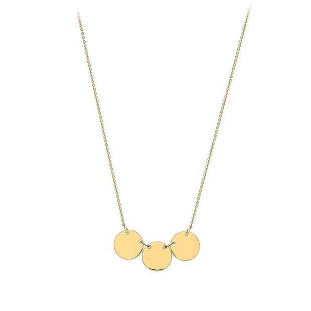 9ct Gold 3 disc on chain
