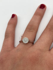 White gold  round cluster engagement ring