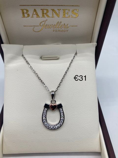 Silver horseshoe on chain