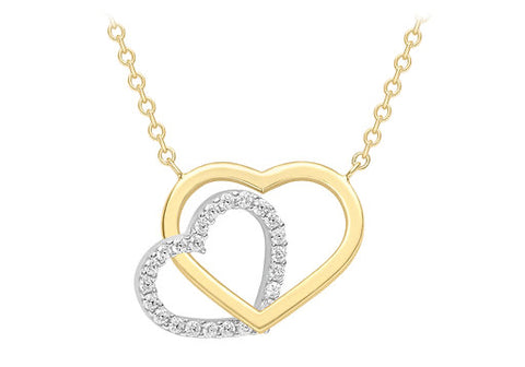 9ct Two-Colour Gold Plain Heart Necklace