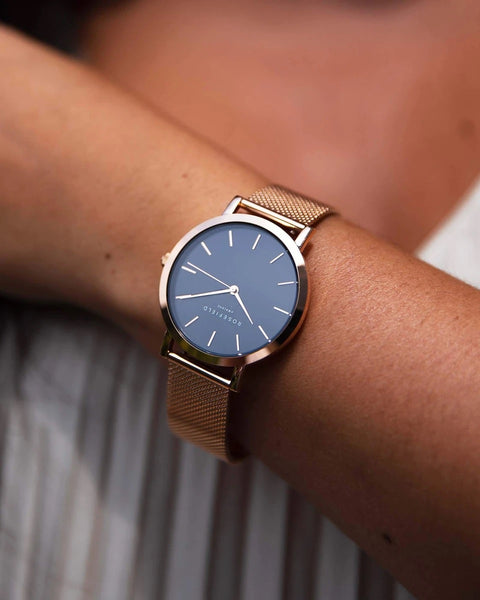 The Mercer Black Rose Gold Watch