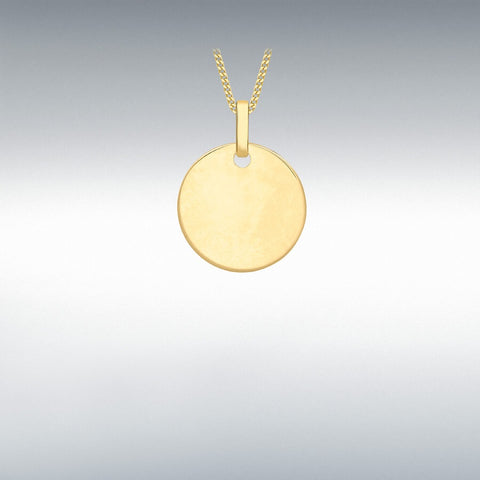 9ct Yellow Gold 14mm Round Disc Pendant
