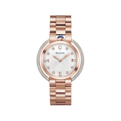 Lady's Bulova Rubaiyat Diamond Set Rose Tone Bracelet Watch