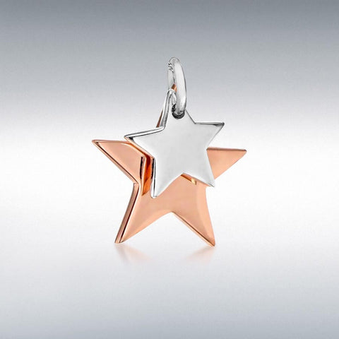 SILVER & Rose Gold Plated DBL STAR PENDANT