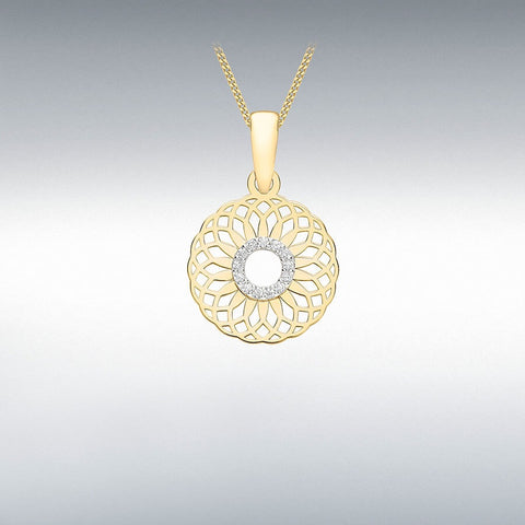 9ct Yellow Gold CZ Circle 13.5mm Overlapping Spiral Pendant  1.68.4839