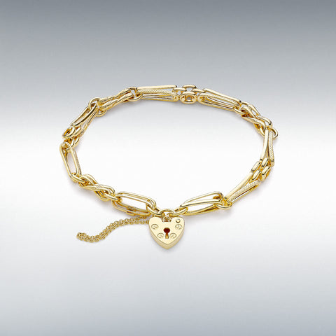 9ct yellow gold link bracelet with padlock