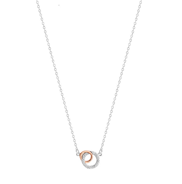 Sterling Silver C/Z Double Circle Necklace