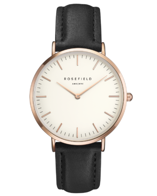 The Bowery Black and White Rose Gold Watch