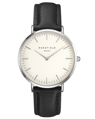 The Bowery Black, White and Silver rosefield watch
