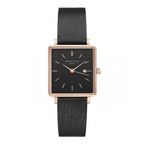 Rosefield Boxy Black Ladies Watch