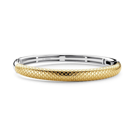Ti Sento Silver Gold Plated Snake Skin Patterned Hinged Bangle