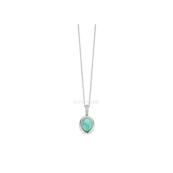 Silver Oval Turquoise Pendant
