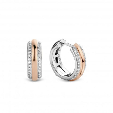 Silver Rose Gold Plated Stone Set Huggie Earrings