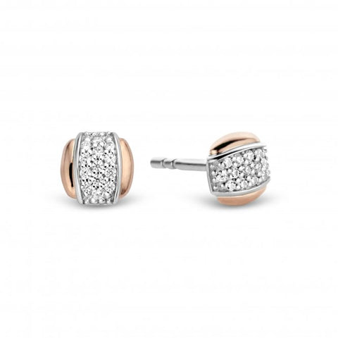 Silver Rose Plated Stone Set Earring Studs