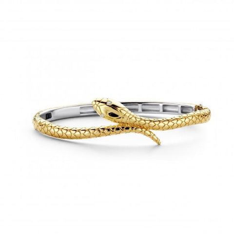 Silver Yellow Gold Plated Snake Bangle