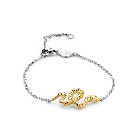Silver Yellow Gold Plated Snake Chain Bracelet