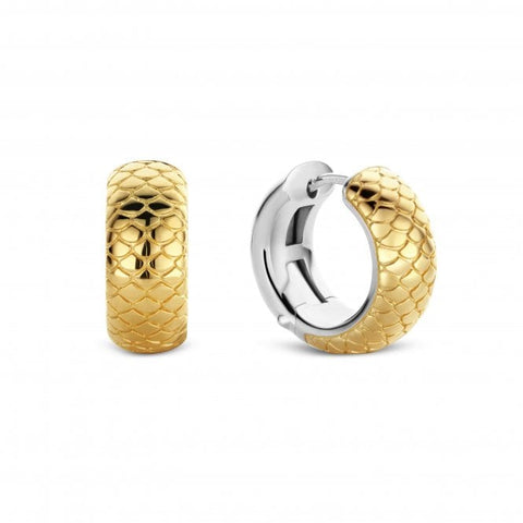 Silver Yellow Gold Plated Snake Skin Patterned Huggie Earrings