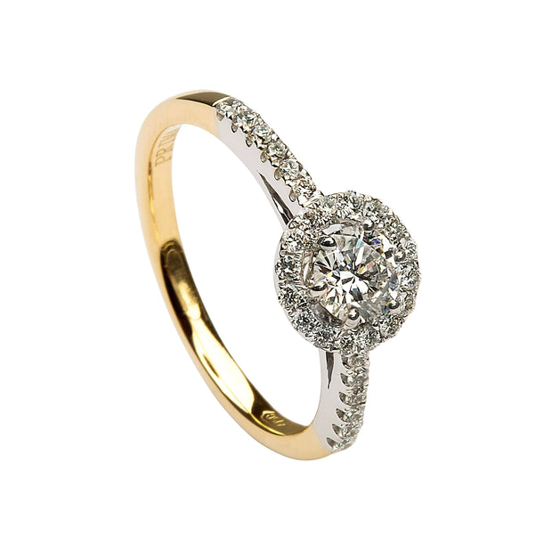 18ct gold solitaire halo ring