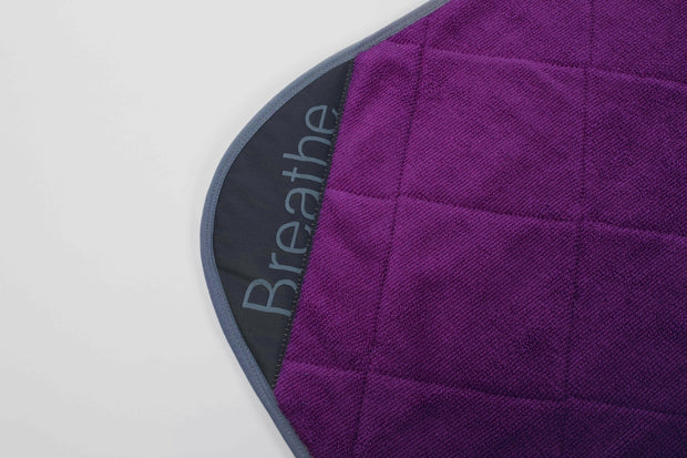 "Plum Breathe Mat w/ Ethereal Blue Bias 80"" Long"