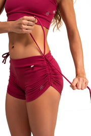 Side String Shorts  Red Wine