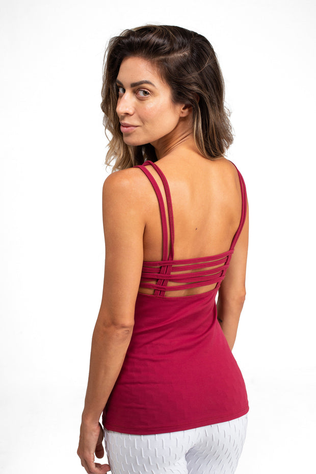 Weave Tank Top Red Wine.