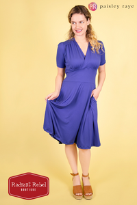 Paisley Raye Dahlia Dress Blue (XL), by Radiant Rebel Boutique, shop now at http://radiantrebelboutique.com