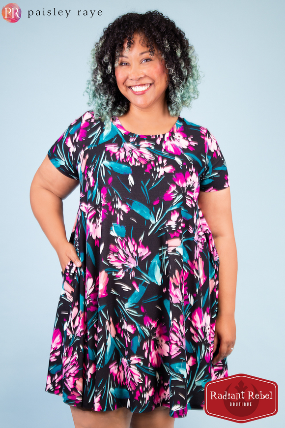 Paisley Raye Iris Small Black floral swing dress, Radiant Rebel Boutique, shop now at http://RadiantRebelBoutique.com