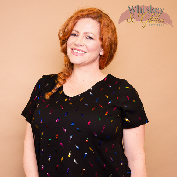 Paisley Raye Fitted V Neck Tee, Whiskey & Glitter Boutique, shop now at http://whiskeyandglitter.com
