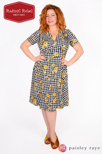 Paisley Raye Dahlia Dress Houndstooth Floral (2X), by Radiant Rebel Boutique, shop now at http://radiantrebelboutique.com