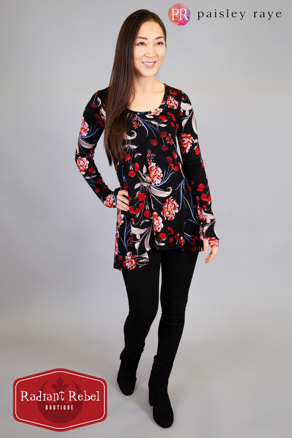 Paisley Raye red and black floral Jade thumbhole top, Radiant Rebel Boutique