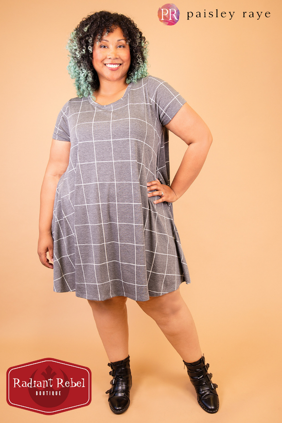 Paisley Raye Grey Windowpane Iris swing dress, Radiant Rebel Boutique, shop now at http://RadiantRebelBoutique.com