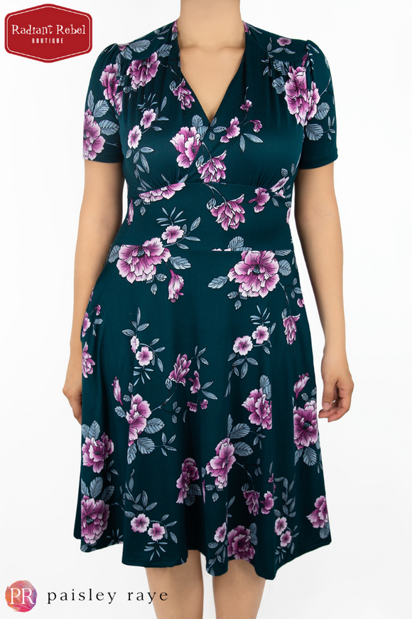 Paisley Raye Dahlia Dress Teal Floral (Medium), by Radiant Rebel Boutique, shop now at http://radiantrebelboutique.com
