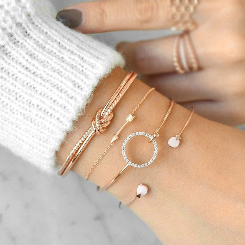 Crystal Gem Multilayer Adjustable Open Bracelet Set