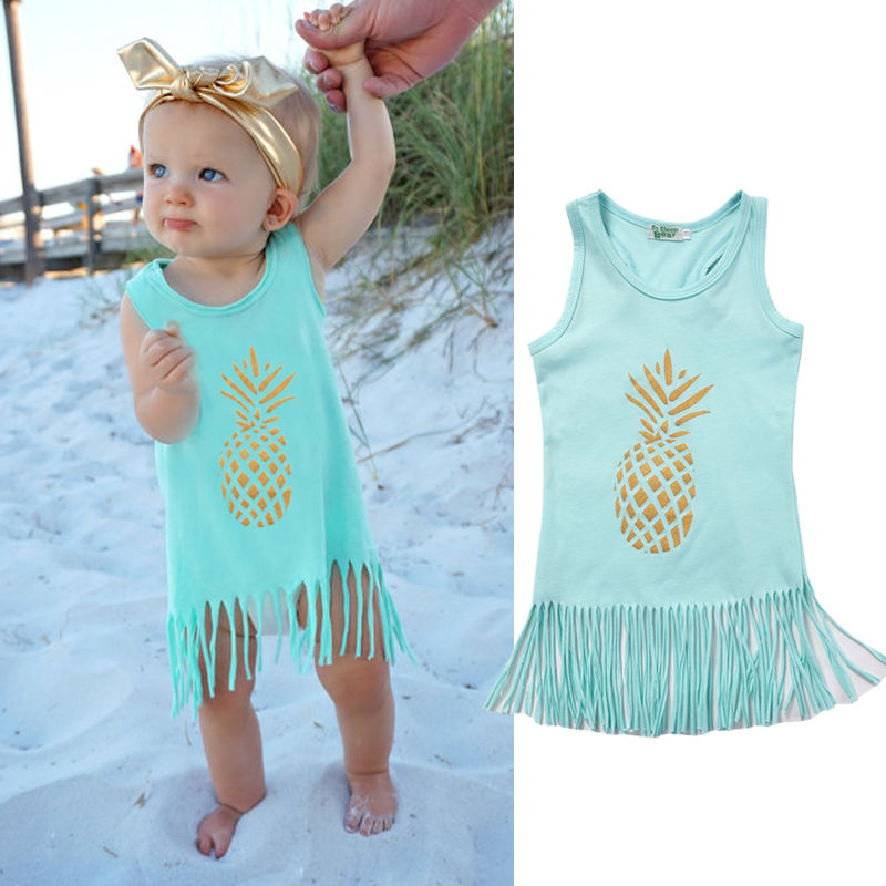 Sleeveless Pineapple Dress With Tassels
