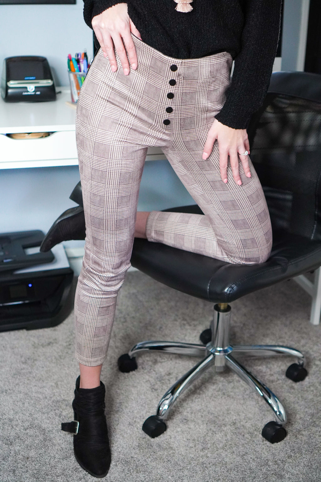 She Means Business Plaid Leggings