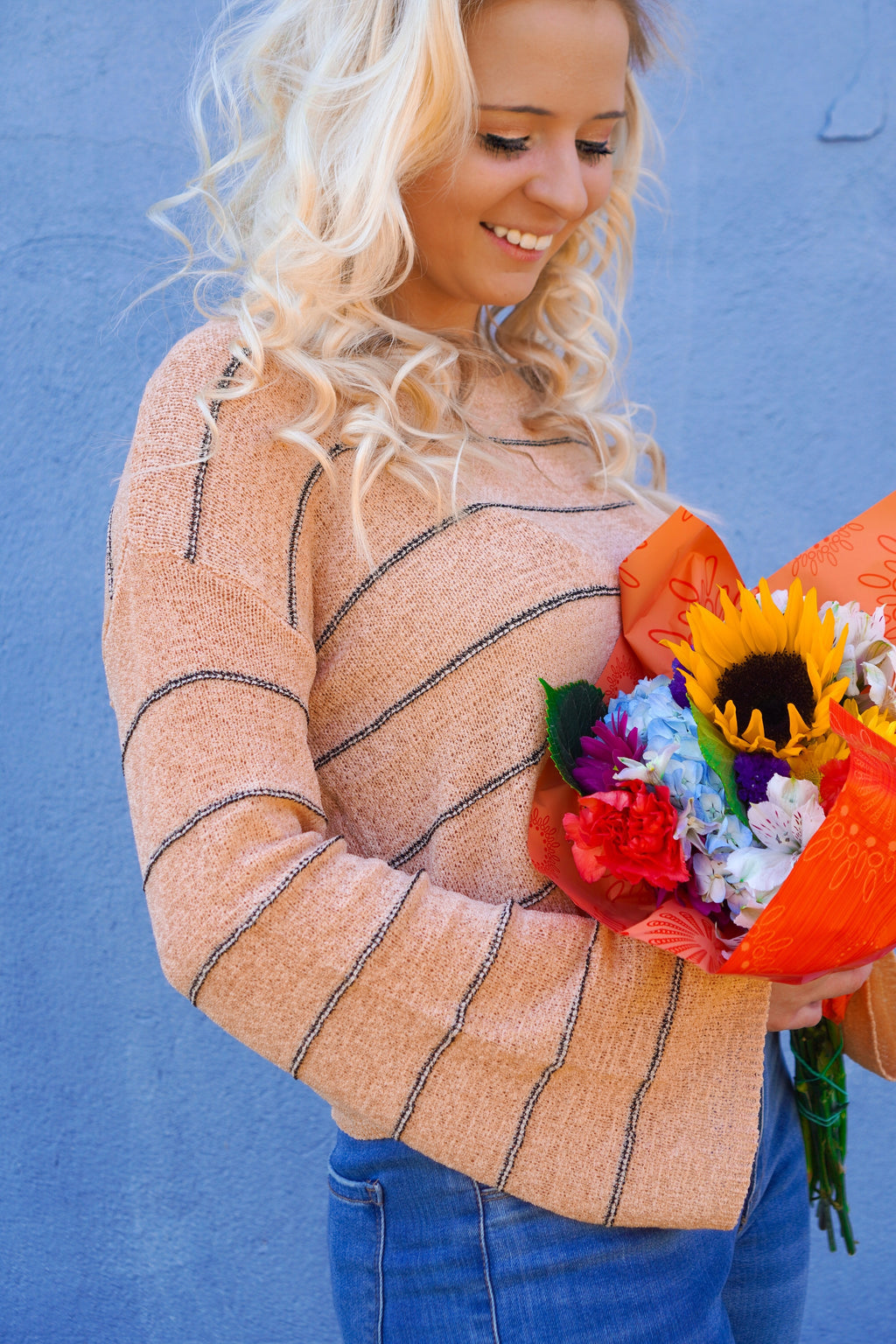 Pretty In Peach Stripped Top