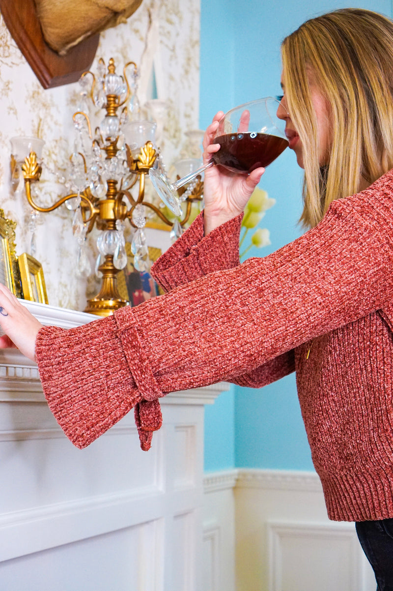 Wine Knot Chenille Sweater